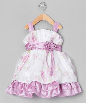 Lilac & White Floral Tiered Dress - Toddler