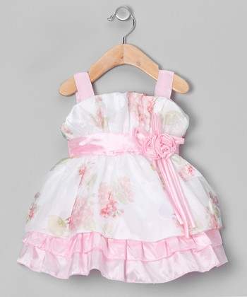 Pink & White Floral Tiered Dress - Infant & Toddler