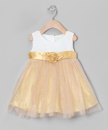 Gold Sparkle Overlay Dress - Infant & Toddler