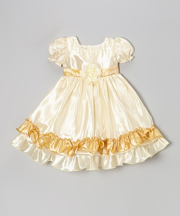 Gold Satin Tiered Dress - Infant
