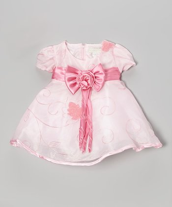 Pink & White Embroidered Polka Dot Dress - Infant & Toddler