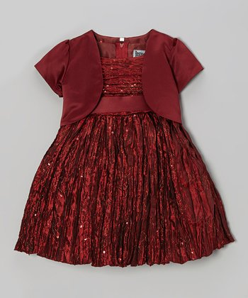 Burgundy Sequin Dress & Shrug - Toddler