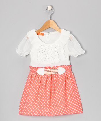 White & Pink Rhinestone Dress - Toddler & Girls