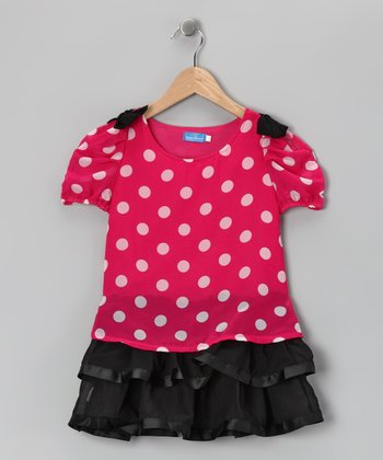 Rose Polka Dot Dress - Girls