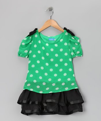 Green Polka Dot Dress - Girls