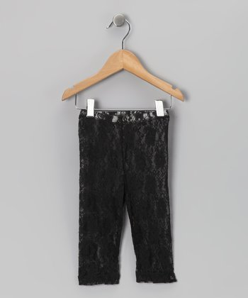 Black Lace Capri Leggings - Toddler & Girls