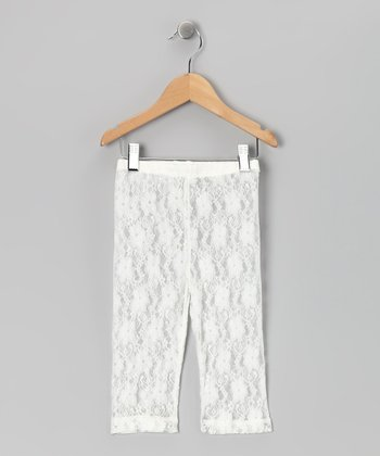 White Lace Capri Leggings - Girls