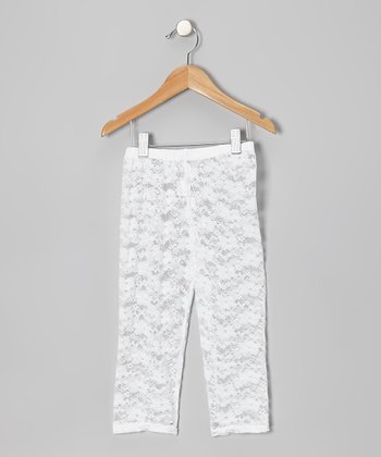 White Lace Leggings - Toddler & Girls