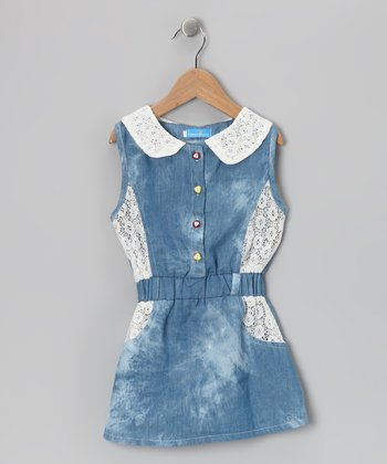 Denim Lace Dress - Girls