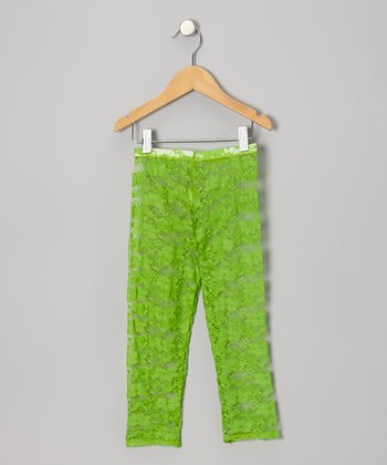 Green Lace Leggings - Infant, Toddler & Girls