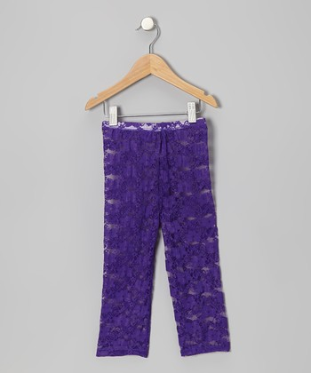 Purple Lace Leggings - Infant, Toddler & Girls