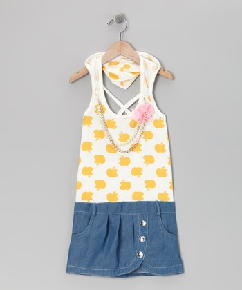 Yellow Denim Apple Dress - Toddler & Girls