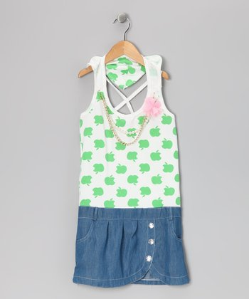 Green Denim Apple Dress - Girls