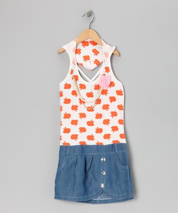 Orange Denim Apple Dress - Toddler & Girls