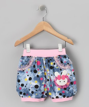 Blue & Pink Polka Dot Shorts - Girls