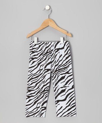 Black & White Zebra Lace Leggings - Infant, Toddler & Girls