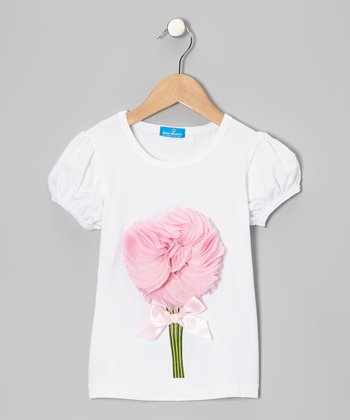 White & Pink Petal Top - Infant, Toddler & Girls