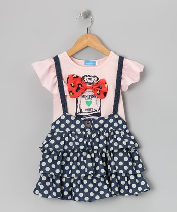 Pink & Blue Suspender Dress - Girls