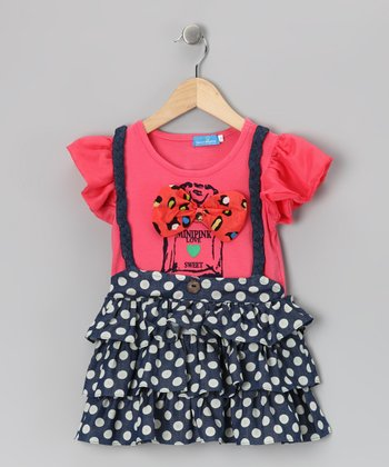 Rose & Blue Suspender Dress - Girls