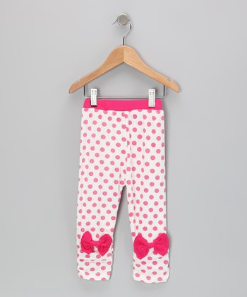 White & Pink Polka Dot Leggings - Toddler & Girls