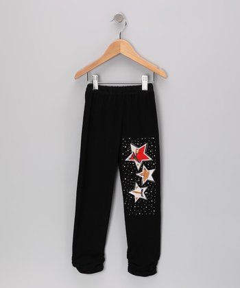 Black Star Rhinestone Leggings - Toddler & Girls