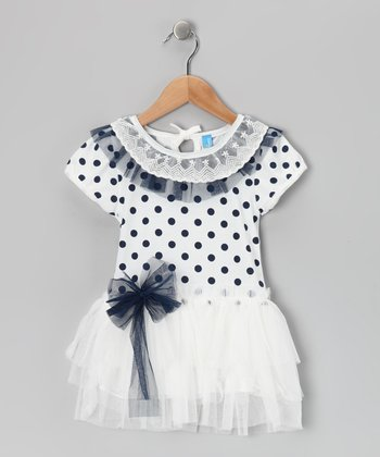 White Polka Dot Dress - Toddler & Girls