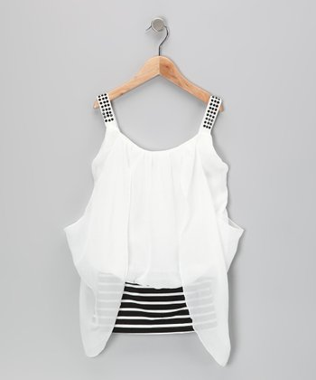 White Stripe Tank - Girls