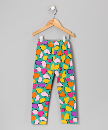 Green & Yellow Heart Leggings - Toddler & Girls