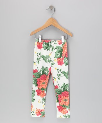 White Floral Leggings - Toddler & Girls
