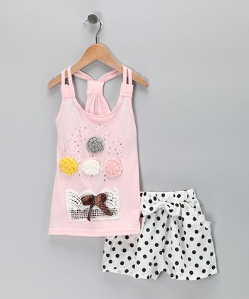 Sweet Bluette Pink Rosette Tank & White Polka Dot Shorts