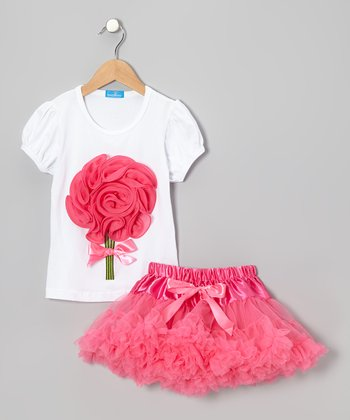 White Bouquet Top & Pink Tulle Skirt - Girls