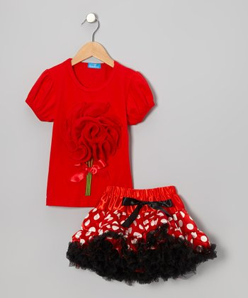 Red Bouquet Top & Polka Dot Pettiskirt - Girls