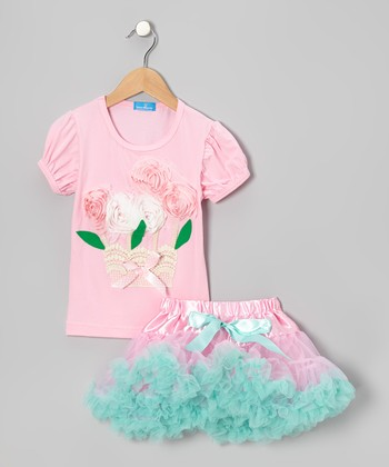Pink Blossom Basket Top & Tulle Skirt - Infant, Toddler & Girls