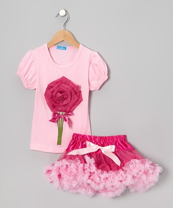 Pink Rose Top & Dark Pink Tulle Skirt - Girls