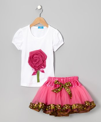 White Rose Top & Pink Tulle Skirt - Infant, Toddler & Girls