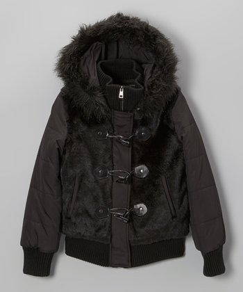 Black Faux Fur Bomber Jacket