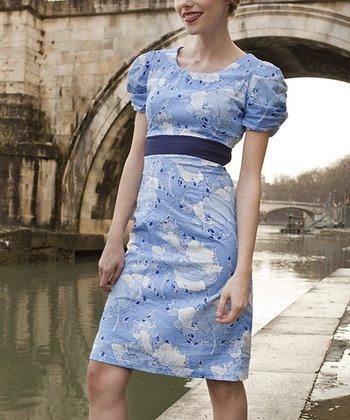 Blue & White Floral Bernini Dress