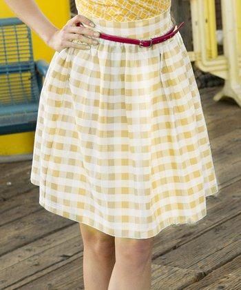 Yellow Gingham California Sunset Skirt