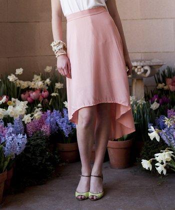 Peach Cherry Blossom Hi-Low Skirt
