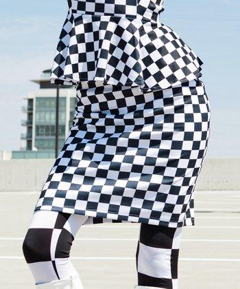 Black & White Checkerboard Blackbird Pencil Skirt