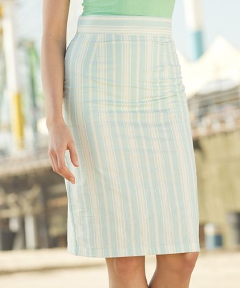Blue/cream Stripe Blue & White Stripe Jetty Pencil Skirt