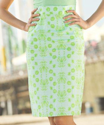 Blue & Green Lime Ricki Pencil Skirt