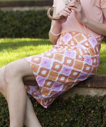 Orange & Pink Diamond Marigold Pencil Skirt