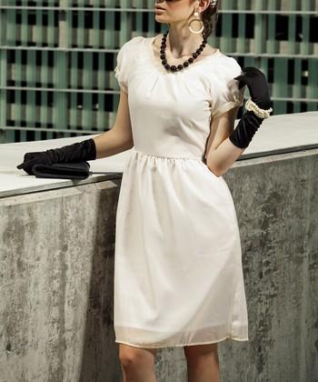 White & Cream Waterfront Dress