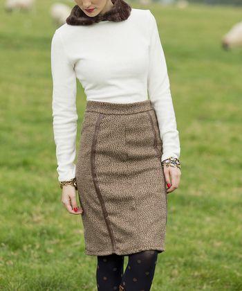 Brown Tweed Cora Pencil Skirt