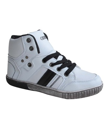 White & Black Lace Hi-Top Sneaker