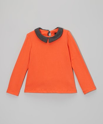 Sunset & Charcoal Peter Pan Collar Top - Toddler & Girls