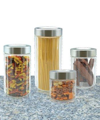 Four-Piece Round Glass Canister Set