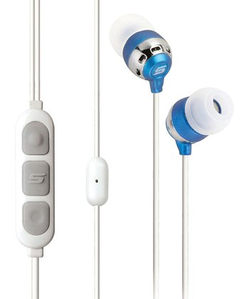 White & Blue Noise Isolation Microphone Earbuds