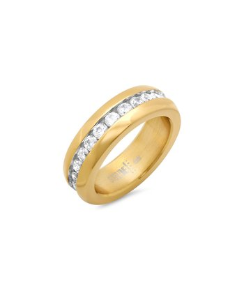 Yellow Gold & Simulated Diamond Eternity Ring